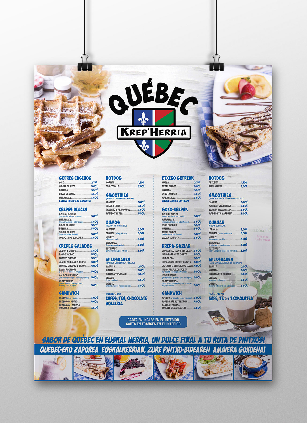 Cartelería menú KrepHerria Québec