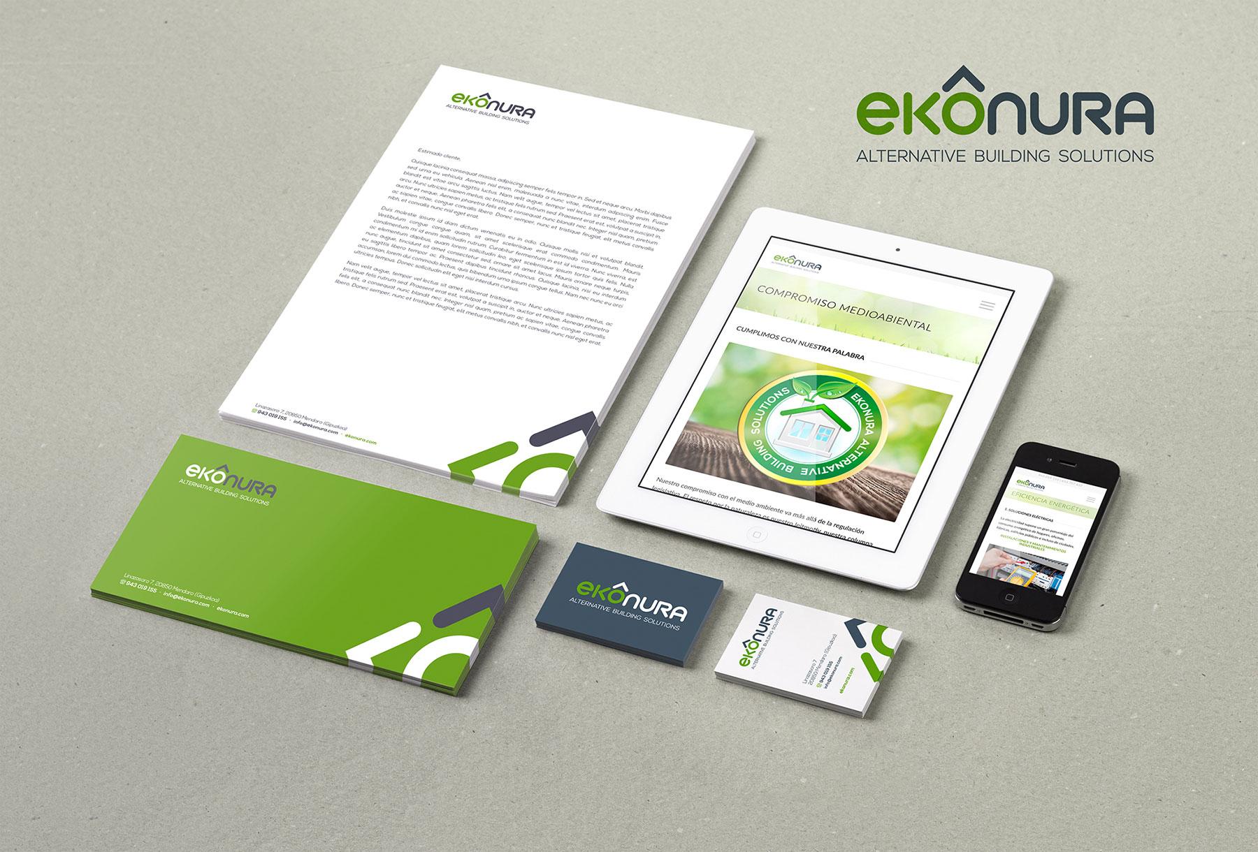 Identidad corporativa papelería, web Ekonura